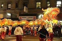 The Golden Dragon, near the finish on Kearny, marks the climax of the New Year Parade in 2017.