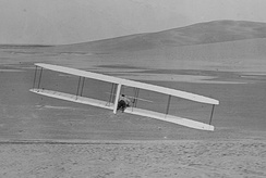 Wilbur makes a turn using wing-warping and the movable rudder, October 24, 1902.