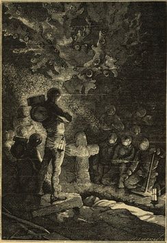 Underwater funeral in Twenty Thousand Leagues Under the Sea from an edition with drawings by Alphonse de Neuville and Édouard Riou