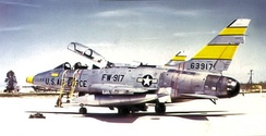 4514th CCTS North American F-100F-10-NA Super Sabre 56-3917, about 1962. To MASDC 31 Jul 1979 as FE0567. Converted to QF-100F