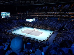 O2 Arena hosting a tennis match at the ATP World Tour Finals.