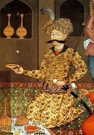 Abbas I as shown on one of the paintings in the Chehel Sotoun pavilion.