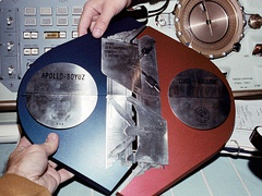 The astronauts and cosmonauts assembled this commemorative plaque in orbit as a symbol of the international cooperation.
