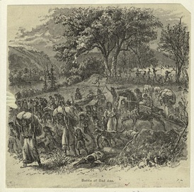 Native women and children fleeing the Battle of Bad Axe during the Black Hawk War