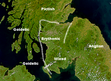 "Possible language zones in southern Scotland, 7th–8th centuries (after Nicolaisen, Scottish Place-Names and Taylor, ""Place Names"")."