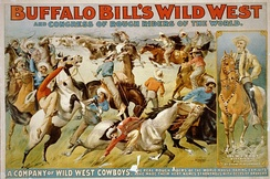 Buffalo Bill's wild west and congress of rough riders of the world – Circus poster showing cowboys rounding up cattle, c. 1899