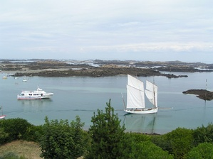 Boats in Chausey Sound. The two-master on the right is a traditional type known as a Bisquine.