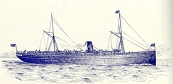 Artwork of the SS Columbia in the late 1890s. The Union Pacific Railroad logo is sported on the ship's funnel.