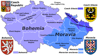 Czech historical lands and current administrative regions (kraje)