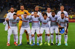 Inter lining up before a Europa League match against FC Dnipro on 18 September 2014