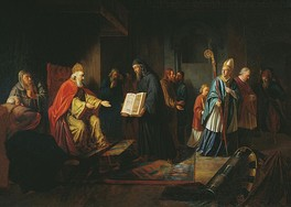 Ivan Eggink's painting represents Vladimir listening to the Orthodox priests, while the papal envoy stands aside in discontent