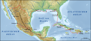 Route of Narváez expedition (until November 1528), and a reconstruction of Cabeza de Vaca's later wanderings