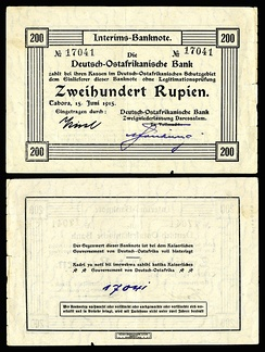 A 200 German East African rupie provisional banknote issued in Dar es Salaam in 1915–17. Currency had to be printed locally due to a significant lack of provisions resulting from the naval blockade.
