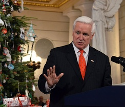 Governor Corbett at the lighting of the State Capitol Christmas tree.