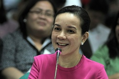 Grace Poe at a Senate budget hearing in September 2012, presenting the MTRCB's proposed budget for 2013.
