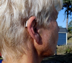A modern behind the ear hearing aid, the audio tube to the speaker is barely visible.
