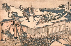 Old drawing of warriors attacking a building