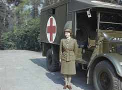 In Auxiliary Territorial Service uniform, April 1945