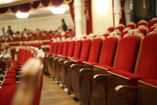 Close-up of the seats in the Opera and Ballet Theatre in Minsk