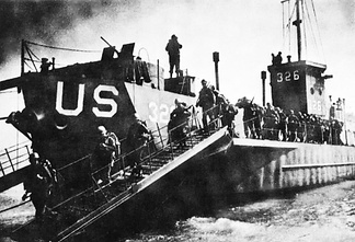 USS LCI-326, a Landing Craft Infantry, during training for D-Day