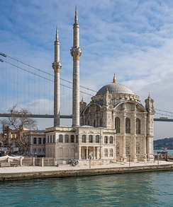 Ortaköy Mosque built in 1854. It has designed it in the Neo-Baroque style.