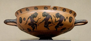 Komos revellry scene from a Komast cup by the KY Painter,  ca. 575 BC, Louvre (E 742)