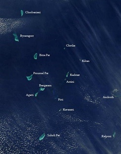 Satellite picture showing the atolls of the Lakshadweep except for Minicoy.