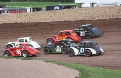 Racing on Beaver Dam Raceway dirt track
