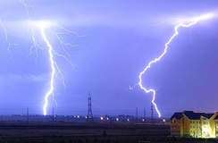 In a typical lightning strike, 500 megajoules of electric potential energy is converted into the same amount of energy in other forms, mostly light energy, sound energy and thermal energy.