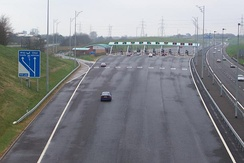 The toll plaza on the M6 Toll at Great Wyrley