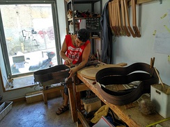 A luthier building classical guitars in Madrid, Spain