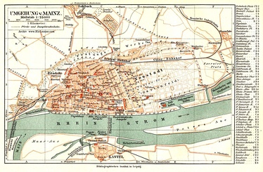 Mainz including expansion zone the Rhine (1898)