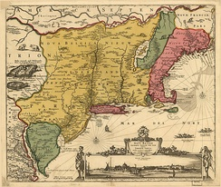 A 1685 revision of a 1656 map of New Netherland showing the locations of the Lands of the Kat Kills and the High Lands of the Esopus