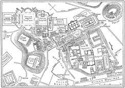 Map of the centre of Rome during the time of the Roman Empire