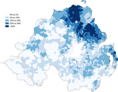 Percentage of people aged 3+ claiming to have some ability in Ulster Scots in the 2011 census