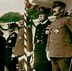 From left to right: Marshal Admiral of the Navy Heihachirō Tōgō (1848–1934), Marshal General of the Army Oku Yasukata (1847–1930), Marshal Admiral of the Navy Yoshika Inoue (1845–1929), Marshal General of the Army Kageaki Kawamura (1850–1926), at the unveiling ceremony of bronze statue of Marshal General of the Army Iwao Ōyama