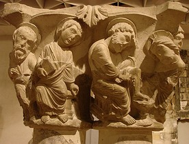 Notre-Dame-en-Vaux, Châlons-en-Champagne. This paired capital representing Christ washing the feet of the disciples is lively and naturalistic.