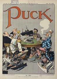 "1909 cartoon in Puck shows (clockwise) US, Germany, Britain, France and Japan engaged in naval race in a ""no limit"" game."