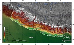 A topographic map of Nepal.