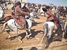 The traditional national sport of Afghanistan, Buzkashi