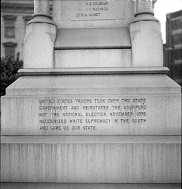 "The Battle of Liberty Place monument in Louisiana was erected in 1891 by the white-dominated New Orleans government. An inscription added in 1932 states that the 1876 US Presidential Election ""recognized white supremacy in the South and gave us our state"". It was removed in 2017 and placed in storage."
