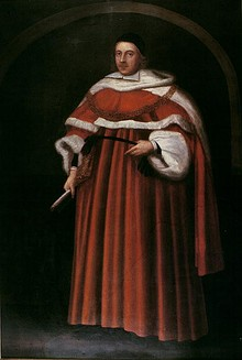 A Portrait of Matthew Hale. He stands in a full-length brown judge's robe with a black cap on his head. In his right hand, he holds a paintbrush.