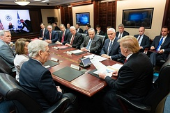 Trump meets with Congressional leadership in the White House Situation Room on January 2, 2019
