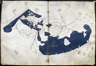 "A 15th-century manuscript copy of the Ptolemy world map, reconstituted from Ptolemy's Geography (circa AD 150), indicating the countries of ""Serica"" and ""Sinae"" (China) at the extreme east, beyond the island of ""Taprobane"" (Sri Lanka, oversized) and the ""Aurea Chersonesus"" (Malay Peninsula)."