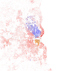 Map of racial distribution in Milwaukee, 2010 U.S. Census. Each dot is 25 people: White, Black, Asian, Hispanic or Other (yellow)