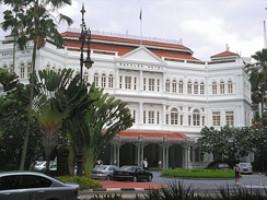 Raffles Hotel was established in 1887. Its renowned Long Bar is home to the Singapore Sling cocktail.