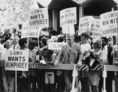 International Ladies' Garment Workers' Union supporters hold signs during a Humphrey rally.