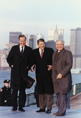 International policy with the buckling Soviet Union was a critical component of the political landscape in the late 1980s. Vice President Bush can be seen here standing with United States President Ronald Reagan and Soviet General Secretary Mikhail Gorbachev, on the New York waterfront, 1988.