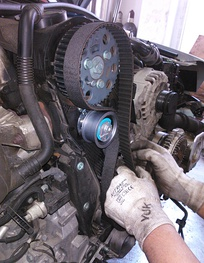 Rubber timing belt during installation