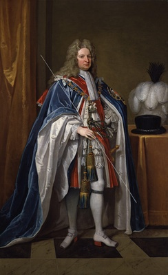 Harley pictured carrying the white staff of the Lord High Treasurer.  Portrait by Sir Godfrey Kneller.